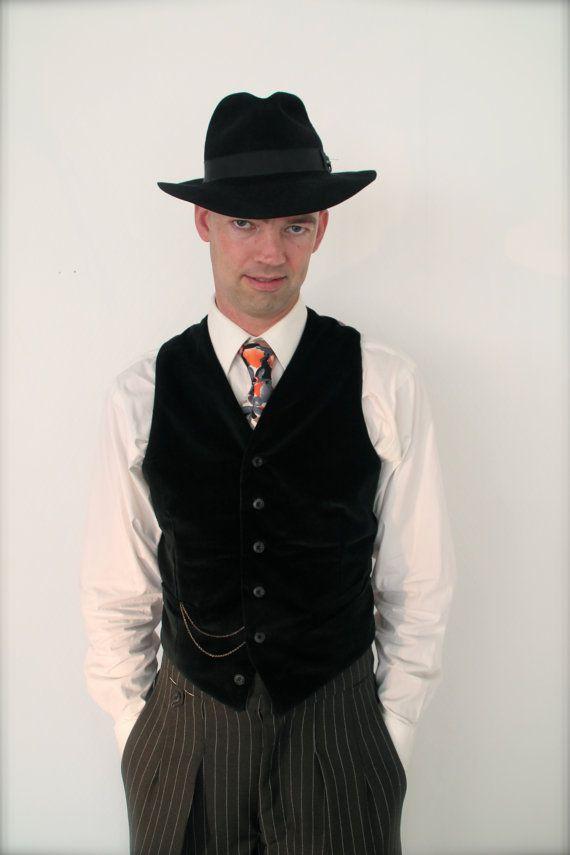 1930's style black velvet mens vest vintage door SunnySideCouture