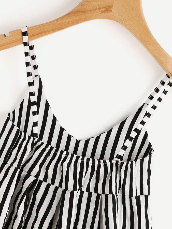 f2070b36d0 Shein V Neckline Vertical Striped Babydoll Cami Top #Vertical#Neckline#Shein