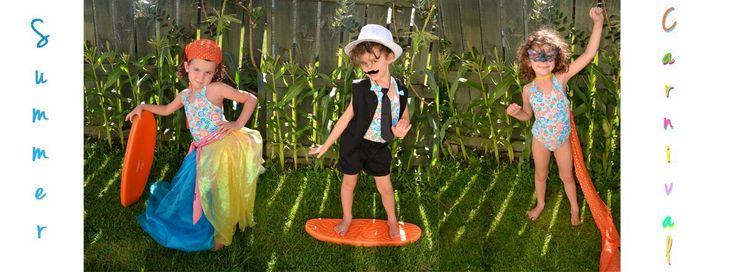 Same girl, 3 costumes, outside. Brthday