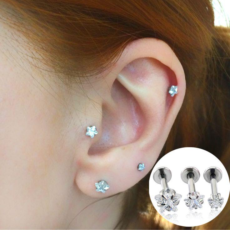 Bijoux de mode D'oreille de Goujon Étoiles Zircon Prong Set Top Taraudée Lèvre Piercing Daith Cartilage Helix Piercing Boucles D'oreilles