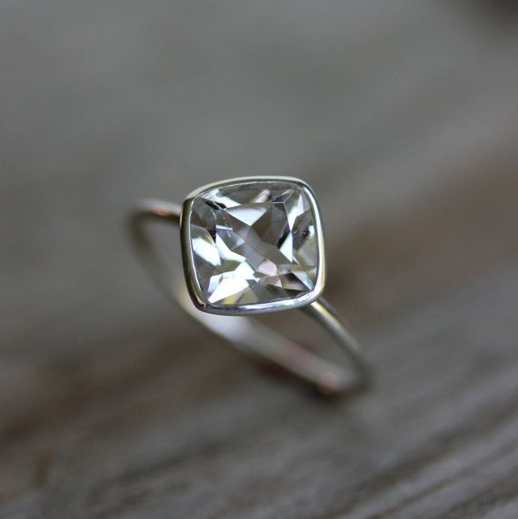 Cushion Cut White Topaz and Recycled Sterling by onegarnetgirl, $218.00