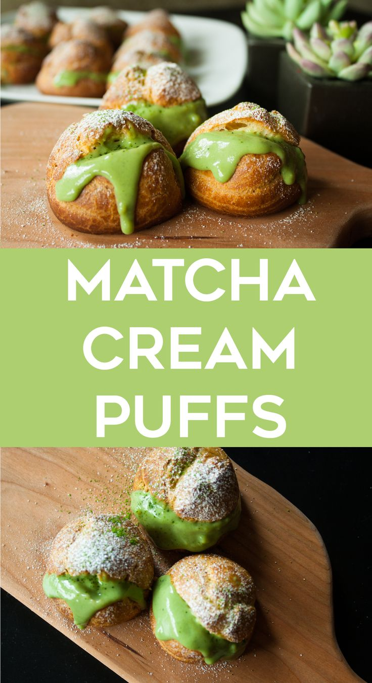 Cream puffs with a delicious matcha custard filling! Perfect for matcha lovers | Joleen Cuisine