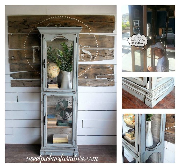 Distressed Grey. But most of all, I like the contents of this Curio Cabinet