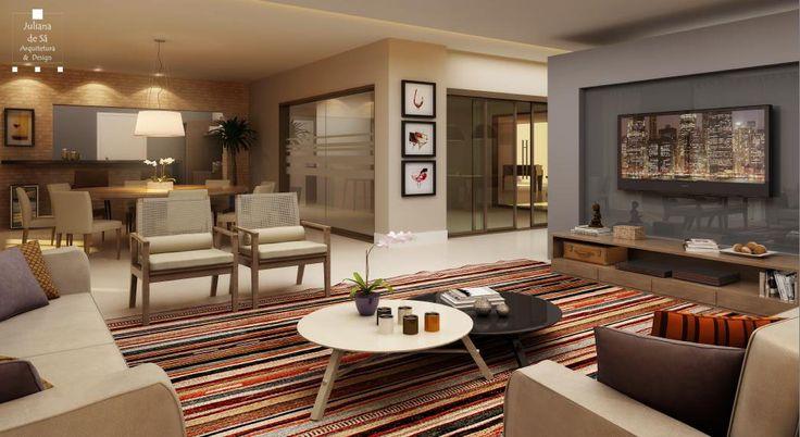 Nesse projeto, com a utilização de tons e cores harmoniosas, criamos um espaço com ambientes de estar e jantar, acolhedores e confortáveis para oferecer aos moradores a opção de receber os amigos sem se preocuparem com a casa!