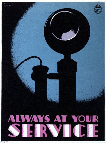 """""""Always at your service"""", telephone service publicity poster designed by Austin Cooper, 1934 (BT Archives, TCB 319/PRD 76)."""