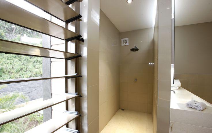 Spacious shower upstairs