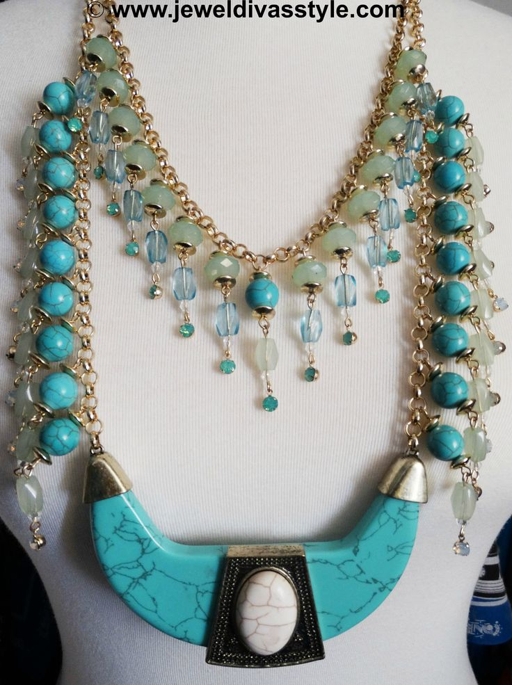 JDS - I JOINED TWO BLUE NECKLACES TOGETHER TO MAKE ONE - http://jeweldivasstyle.com/my-personal-collection-new-blue-jewellery-and-creations/