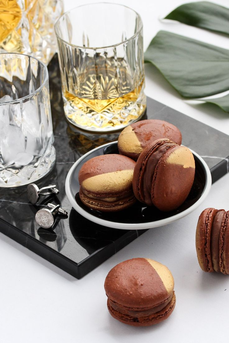Chocolate and whiskey flavoured macarons styled and photographed for J'aime Les Macarons, see more on my website.  Click the link.   #food #foodphotography #foodinspo #foodie #foodieflatlays #foodstylist #eat #macaron #chocolate #whiskey