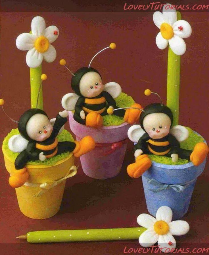 plumas decorativas, flor en maceta de pasta flexible o porcelana fría, poly clay