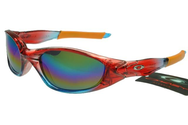 Oakley Active Sunglasses Yellow Red Frame Rainbow Lens 0054
