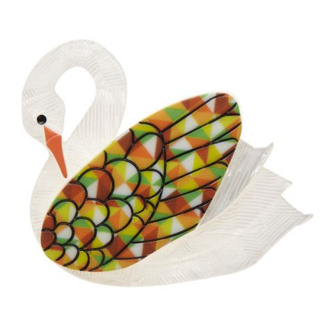 "Erstwilder Limited Edition Sabine the Swan Brooch. ""Here sits a beautiful swan, but she wasn't always so. Her super hot swanliness represents creativity and dreaming."""