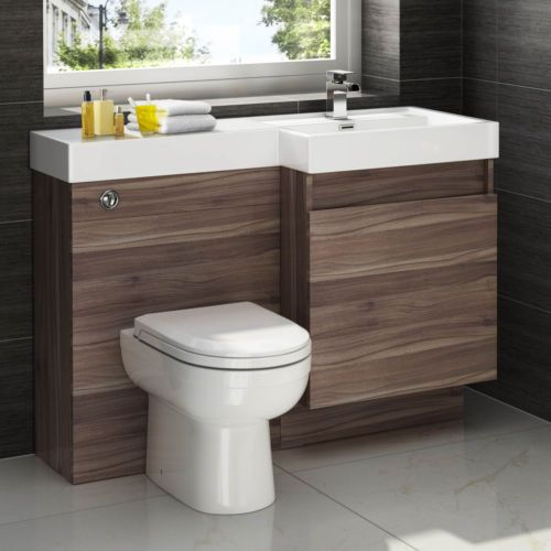 Walnut Vanity Units For Bathroom: Details About Modern Walnut Bathroom Vanity Unit