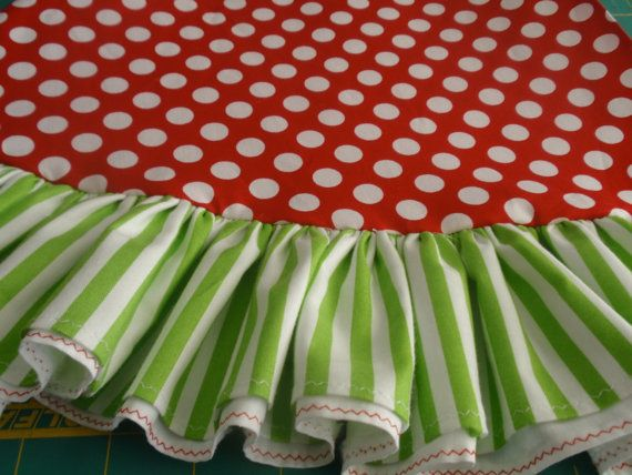 """72"""" red polka dots and lime green stripe whimsical Christmas tree skirt with ruffle"""
