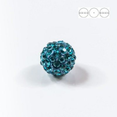 Discoball Bead 14mm Blue Zircon  Dimensions: 14mm Stones which were used in a ball are from Preciosa Company  1 package = 1 piece