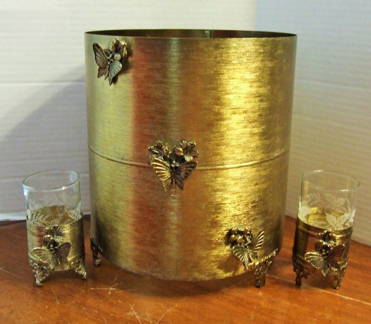 Goldtone Metal Trash Can, Goldtone Metal Waste Basket Cover Set with matching glass covers, Hollywood Regency Decor, Romantic Bathroom Set by BeautyMeetsTheEye on Etsy