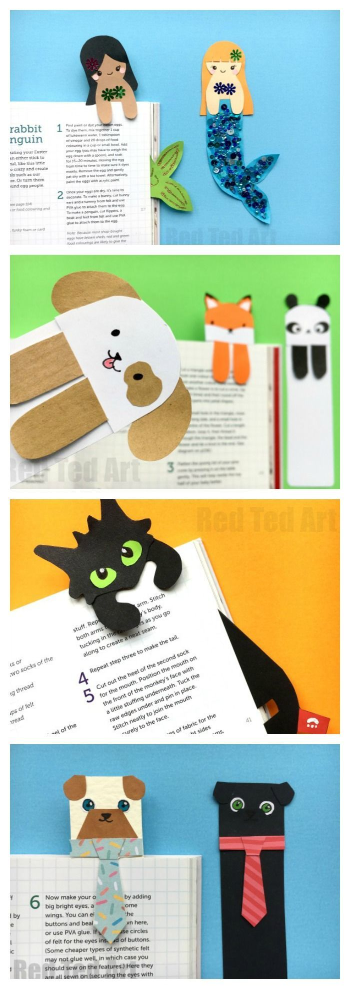 "Oh how we love a Paper Bookmark DIY. Here are some cute and quirky ""Hug a Book"" Bookmark DIYs. Aren't they the cutest? The Tie & Pug Bookmark cracks me up (perfect for Father's Day or male teachers), the Mermaids are just adorable. Love them all. The best"