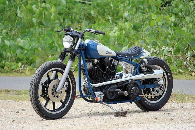 "Custom Harley-Davidson FXS ""Shovelhead"" 1979 by Hide Motorcycles | Öhlins rear shock absorbers | Oneoff gas tank, oil tank & seat cowl | via CustomFront.jp"