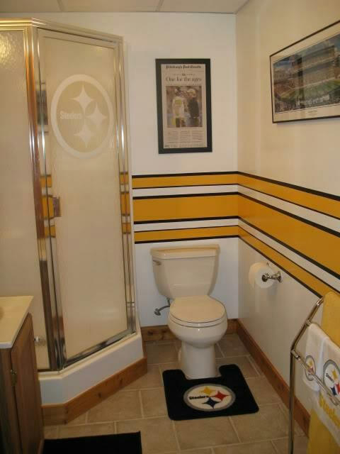 Not my bathroom but a great idea steelers love pinterest man cave pittsburgh steelers for Bad stuff happens in the bathroom
