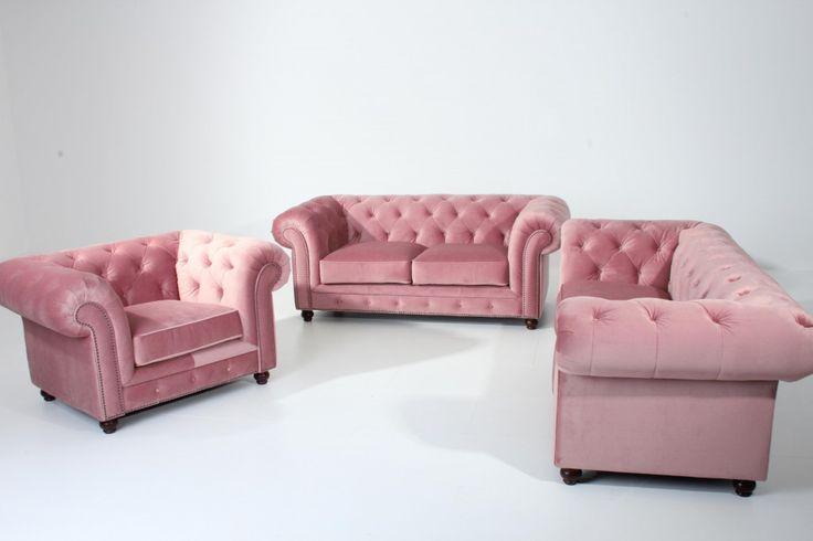 SALFORD Sofagarnitur Couchgarnitur Sofa Garnitur Samtvelours Rosé