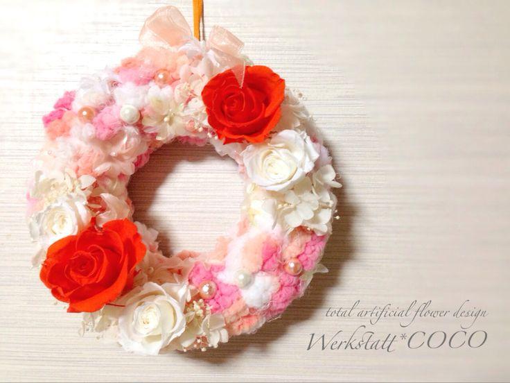 puffy wreath*orange rose http://wercoco.theshop.jp/items/592236