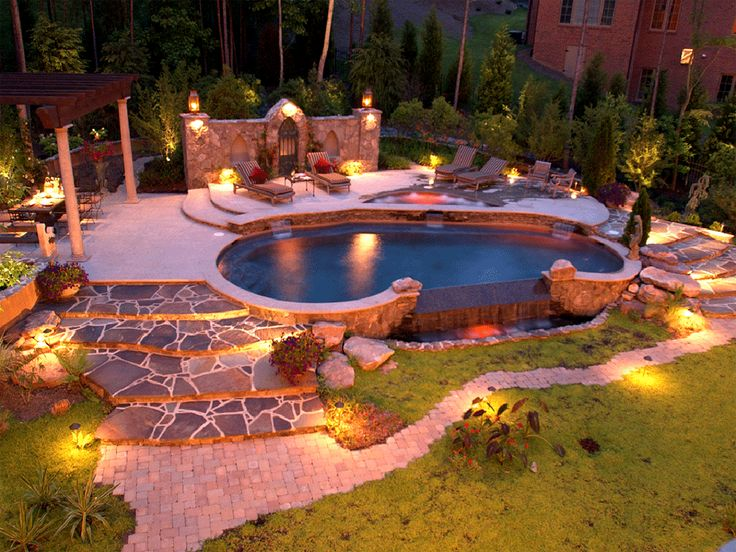 Awesome! Landscaping And Lighting Pools And Patios | ... Landscaping,  Stamped Concrete