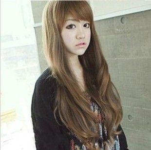 Длинные вьющиеся волосы парик длинные ролл пушистые косой челкой парик девочек большая волна тусклые волосы