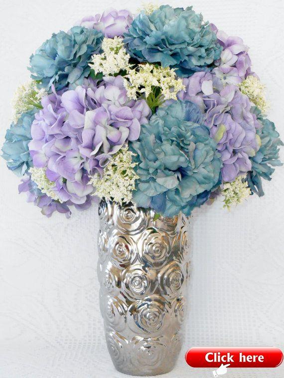 Artificial Flower Arrangement Teal Peonies Lavender Hydrangea Silver Vase With Rosettes Silk Flower Arrangement Silk Floral Arrangement 2019 Floral Dec Flower Arrangements Diy Artificial Flower Arrangements Silk Flower Arrangements