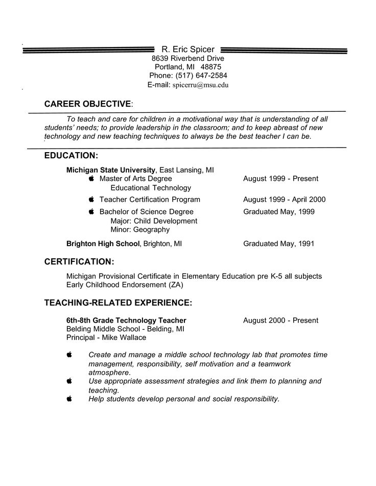 Experienced Teacher Resume Objective How to draft an