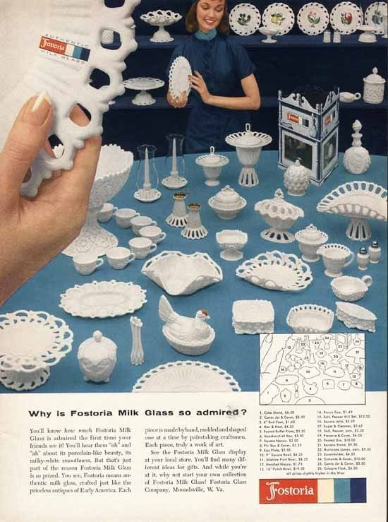 Milk Glass FOSTORIA Ad - 1957 - Shows Many Decorative Pieces - Paper Ad #FostoriaGlass