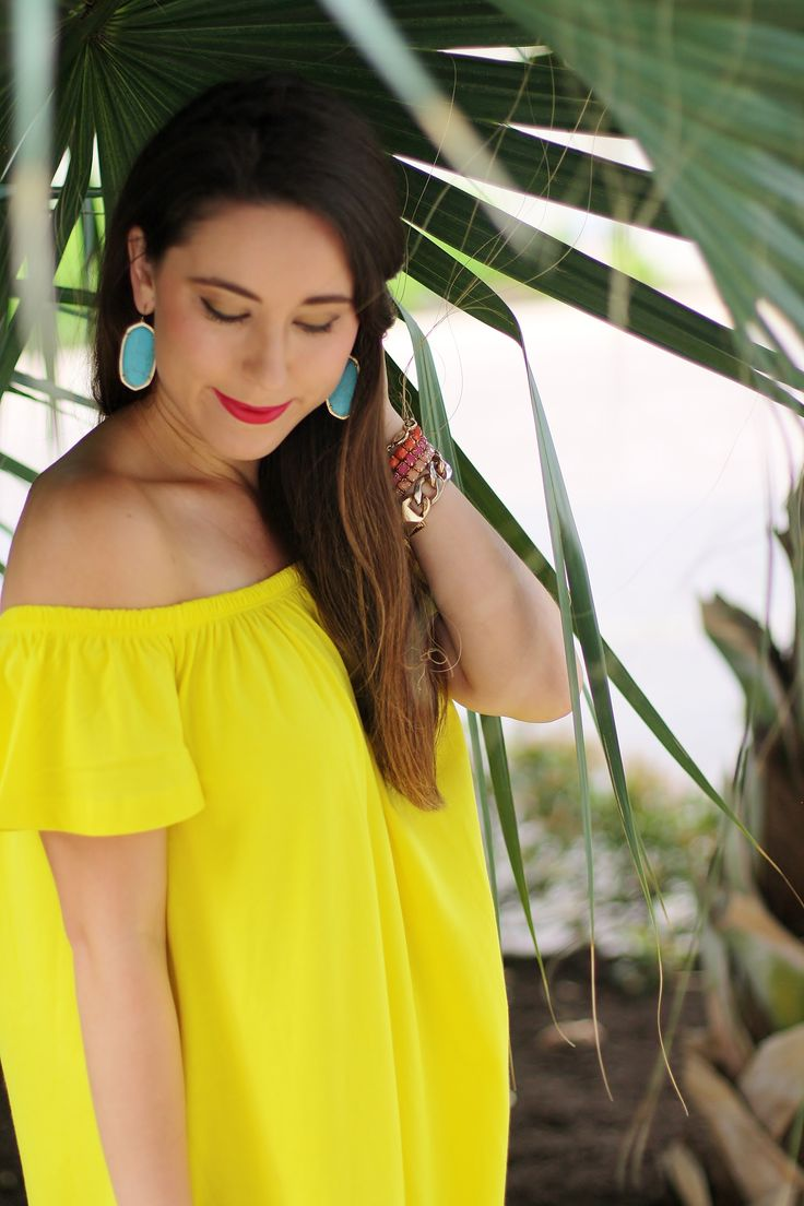 Yellow off-the-shoulder spring & summer dress; tropical style; vacation style; beach outfit; cute look; turqouoise kendra scott elle earrings; cute look