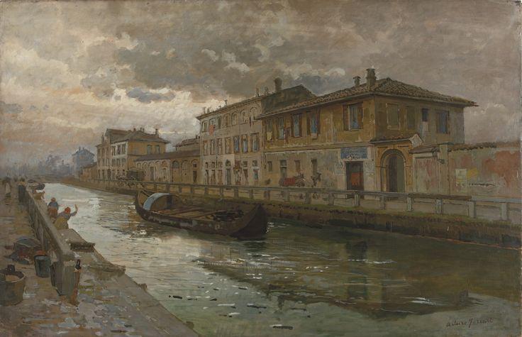 Arturo ferrari, Naviglio di Pavia alla Conchetta (bozzetto). #pittura #collezioneBPM
