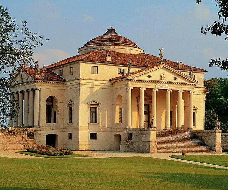 """Villa Almerico Capra (""""La Rotonda"""") - Vicenza (VI) Italy.  Original design by Andrea #Palladio. After 1580, Scamozzi essentially completed the project by Palladio. This magnificent villa lies on top of a hill, where the Riviera Berica starts to take shape. Each façade is embellished with a classical portico that seems to push itself by centrifugal force to the surrounding landscape, the dome that dominates the building is a symbol of divine perfection in the Renaissance."""