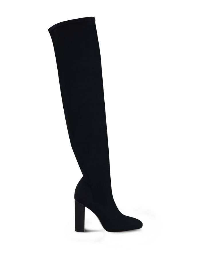 SANTE lycra sock heeled boot and the night is young! Black