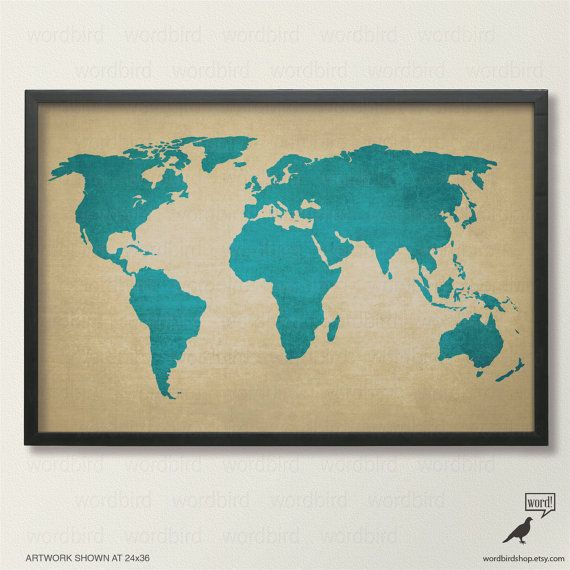 Rustic World Map Vintage Map of the World Printed by WordBirdShop