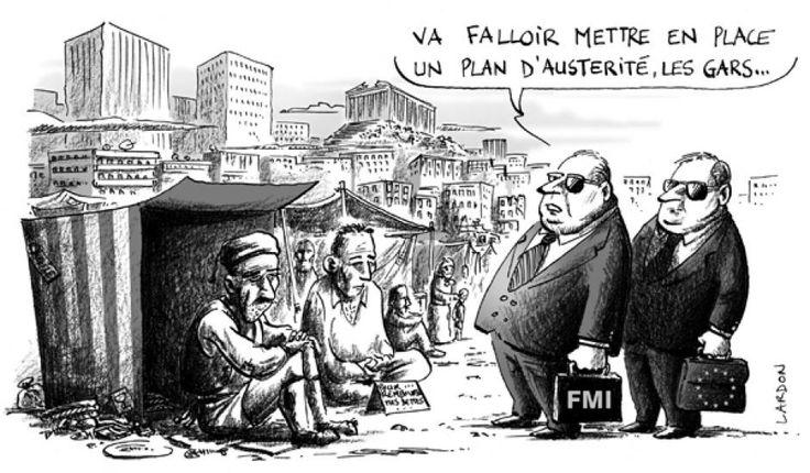 """De notre lecteur Mr Von Sboub: """"Ces derniers temps, les Grecs étaient limités à 60 euros par jour dans les distributeurs. Mais sachez qu'à la Banque Postale, ha ha, les retraits sont pour un forfait de base, limités à 400 euros sur 7 jours glissants,..."""