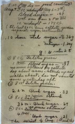 Sir Frederick Banting (1891-1941) and Charles Herbert Best (1899-1978) Laboratory notes: manuscript, August 7, 1921 - the discovery of Insulin