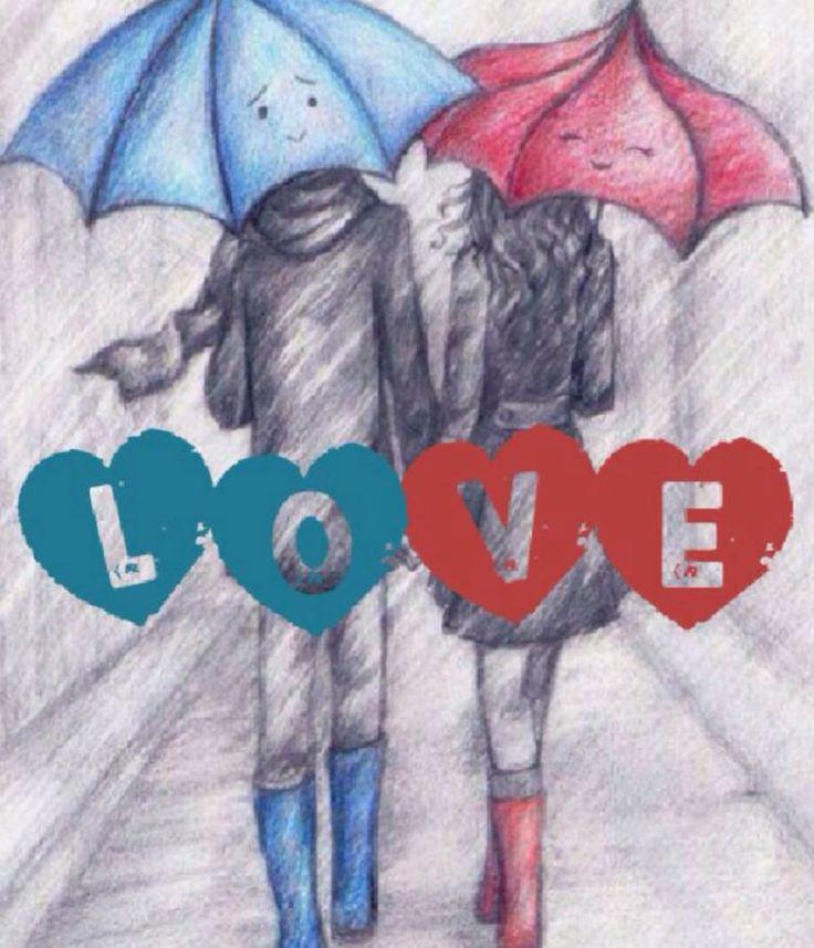 Love under umbrellas in the rain.   Rain Song   Pinterest ...