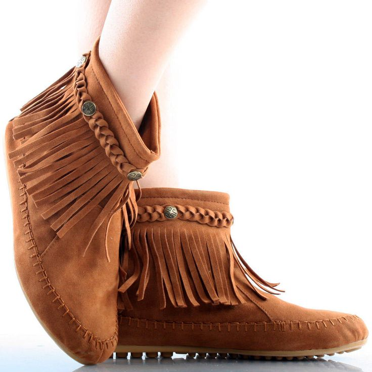 Brown Suede Braid Fringe Zip Up Indian Moccasins Womens Flat