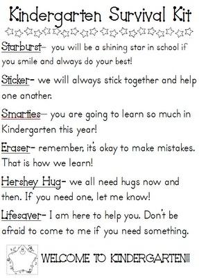 Kindergarten Survival Kit :] classroom
