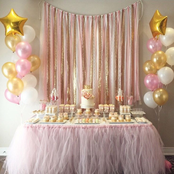 Pink U0026 Gold Garland Backdrop   Birthday, Baby Shower, Wedding ... Fabric,  Sequin And Lace