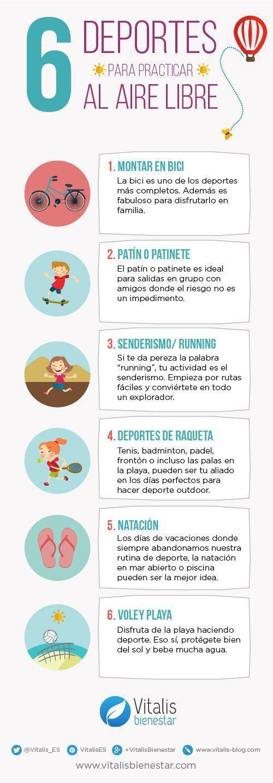 Infografía de Vitalis Bienestar en la que te contamos 6 deportes para practicar al aire libre. Este otoño ponte en forma en la calle.