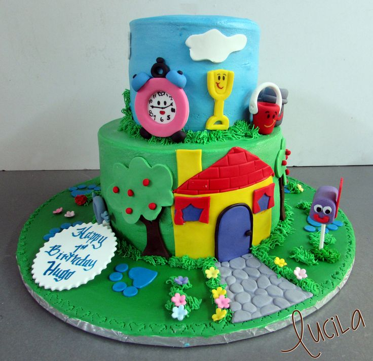 Buttercream cake with fondant applications.