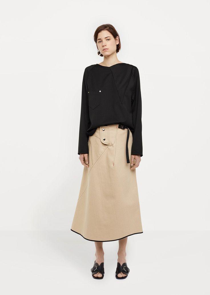 Denim Tacked Skirt by Vejas - La Gar__onne – La Garçonne
