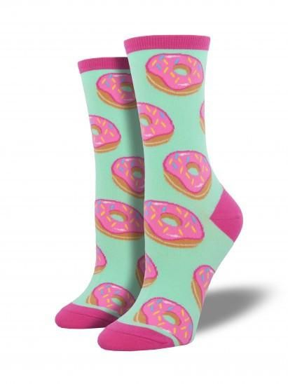 Getting the sugary cravings with these super cute donut socks from Socksmith.  Product Details   Available in mint Toe Seam Sizing: Sock size 9-11 will fit a women's shoe size 6-10 1 pair included per order Fiber Content: 63% Cotton, 34% Nylon, 3% Lycra
