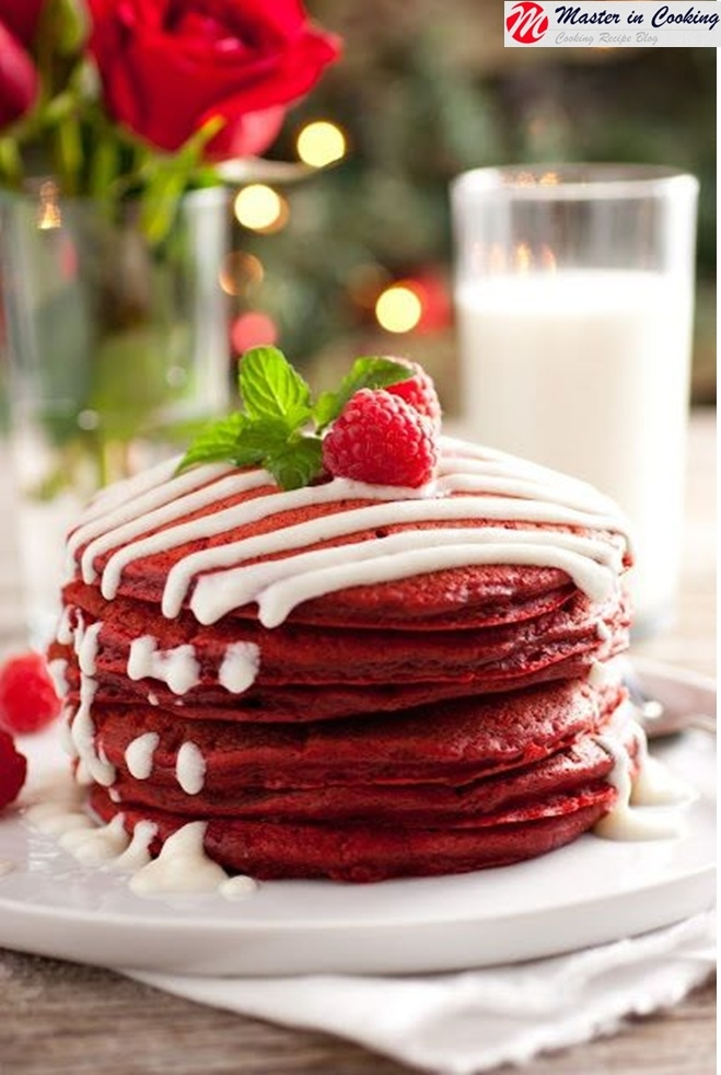 Red Velvet Pancakes with cream cheese drizzle!