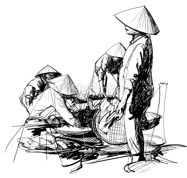 sketch of people in a market in Vietnam