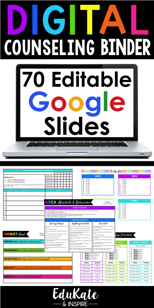 The Digital Counseling Binder is a fully customizable Google Slides file designed to keep you organized this school year. Perfect for school counselors and school social workers, this file contains 70 editable templates!