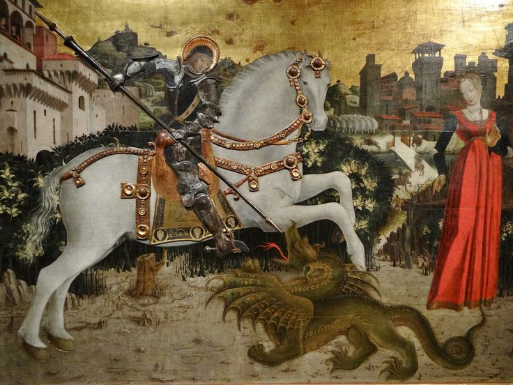 St. George and the Dragon, Pinacoteca Tosio Martinengo, Brescia - Anonymous 15th Century Artist  The horse occupies pride of place in this painting as we watch the forces of virtue and goodness conquer evil.Pisanello painted magnificent horses as well; e.g., the horses in his St. George and the Princess in Sant'Anastasia Verona. The Brescia painting comes from the church of St. George in that city. St. George's armor is executed in relief as are the horse's richly embellished golden…