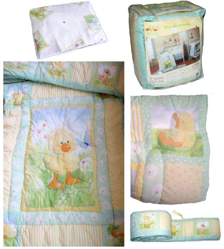 Little Suzy's Zoo Baby Bedding - Witzy Ducky 3pc Nursery Crib Set Boy or Girl
