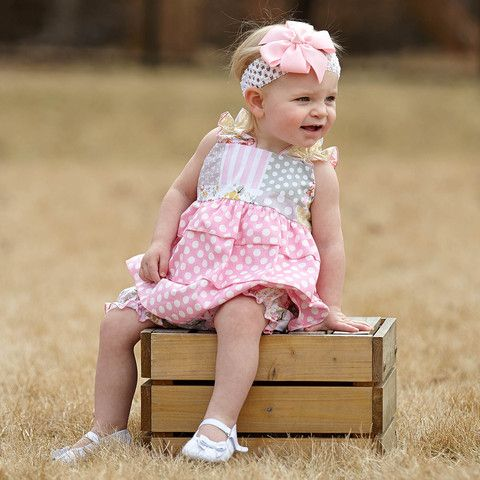 Baby Girls Pink Dot White Pink Patchwork Bloomer Set – Lolly Wolly Doodle